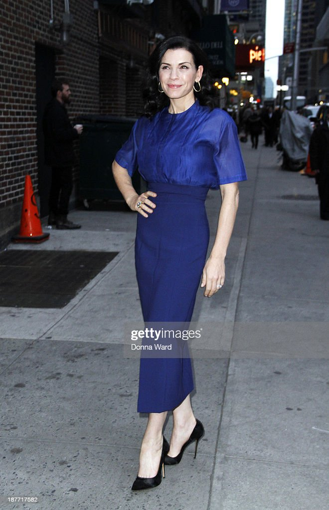 Julianna Margulies arrives for the 'Late Show with David Letterman' at Ed Sullivan Theater on November 11, 2013 in New York City.