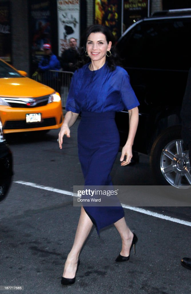 <a gi-track='captionPersonalityLinkClicked' href=/galleries/search?phrase=Julianna+Margulies&family=editorial&specificpeople=208994 ng-click='$event.stopPropagation()'>Julianna Margulies</a> arrives for the 'Late Show with David Letterman' at Ed Sullivan Theater on November 11, 2013 in New York City.