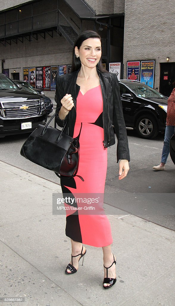 Julianna Margulies at The Late Show With Stephen Colbert on April 28, 2016 in New York City.
