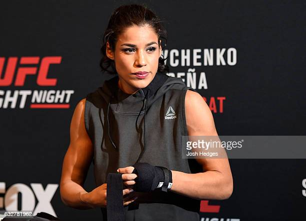 Julianna Pena holds an open workout for fans and media at the EXDO Event Center on January 26 2017 in Denver Colorado