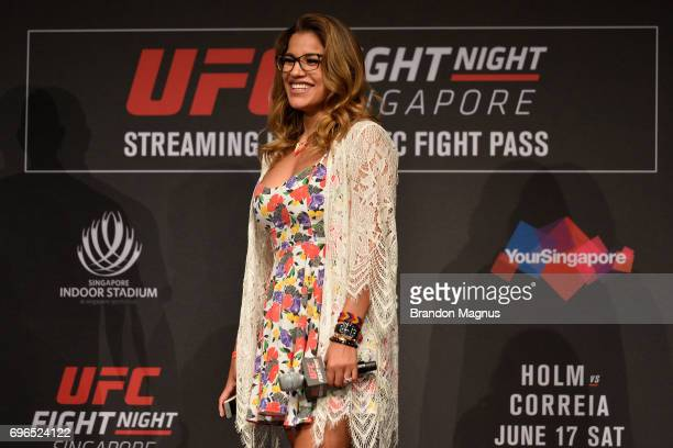 Julianna Pena of the United States smiles at the fans UFC Fight Night QA at the Marina Bay Sands on June 16 2017 in Singapore