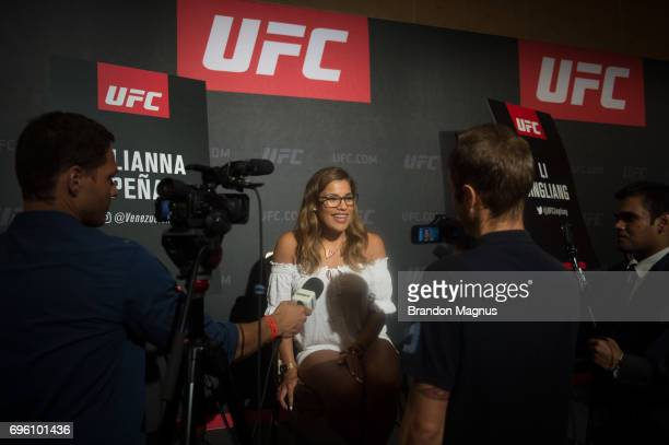 Julianna Pena of the united States speaks to the media during the UFC Fight Night Ultimate Media Day at the Marina Bay Sands on June 15 2017 in...