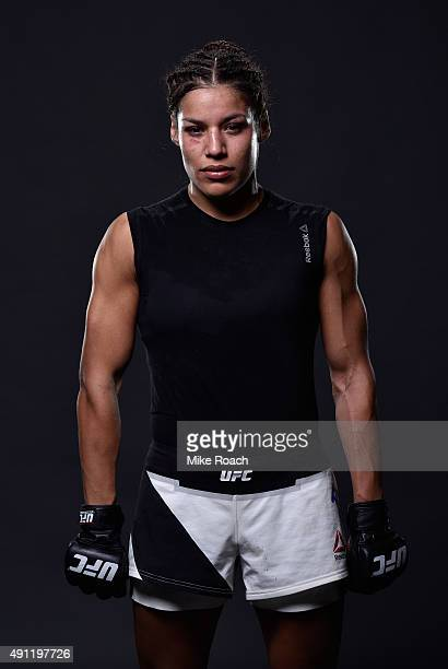 Julianna Pena poses for a post fight portrait backstage during the UFC 192 event at the Toyota Center on October 3 2015 in Houston Texas