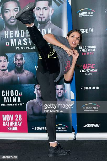Julianna Pena poses for media before UFC Fight Night Female MMA Class at CrossFit Sentinel IFC on November 27 2015 in Seoul South Korea