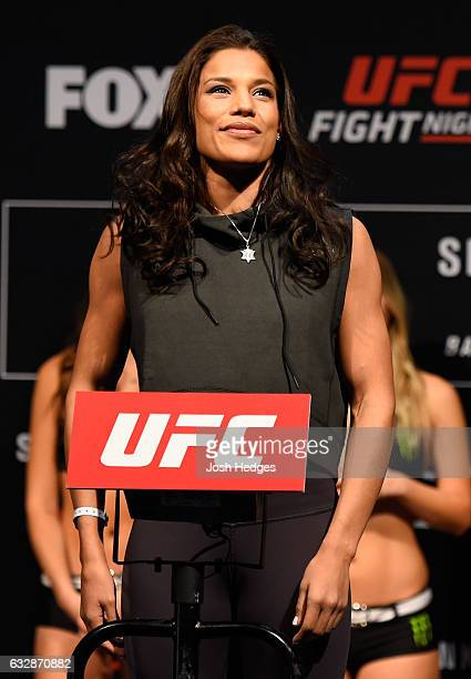 Julianna Pena poses on the scale during the UFC Fight Night weighin at the Pepsi Center on January 27 2017 in Denver Colorado