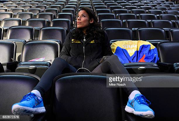 Julianna Pena relaxes backstage prior to the UFC Fight Night weighin at the Pepsi Center on January 27 2017 in Denver Colorado