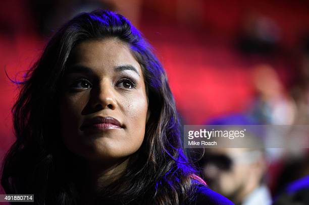 Julianna Pena waits backstage during the UFC 192 weighin at the Toyota Center on October 2 2015 in Houston Texas