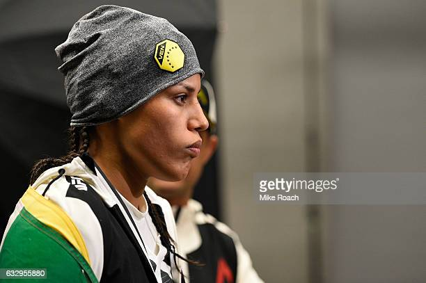 Julianna Pena walks around backstage during the UFC Fight Night event at the Pepsi Center on January 28 2017 in Denver Colorado