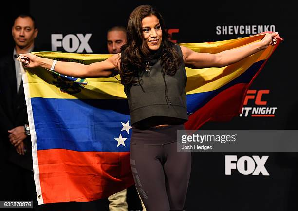 Julianna Pena walks onto the stage during the UFC Fight Night weighin at the Pepsi Center on January 27 2017 in Denver Colorado