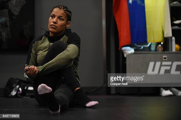 Julianna Pena warms up backstage during the UFC 200 event on July 9 2016 at TMobile Arena in Las Vegas Nevada