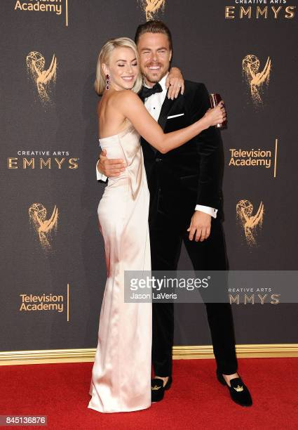 Julianne Hough and Derek Hough attend the 2017 Creative Arts Emmy Awards at Microsoft Theater on September 9 2017 in Los Angeles California