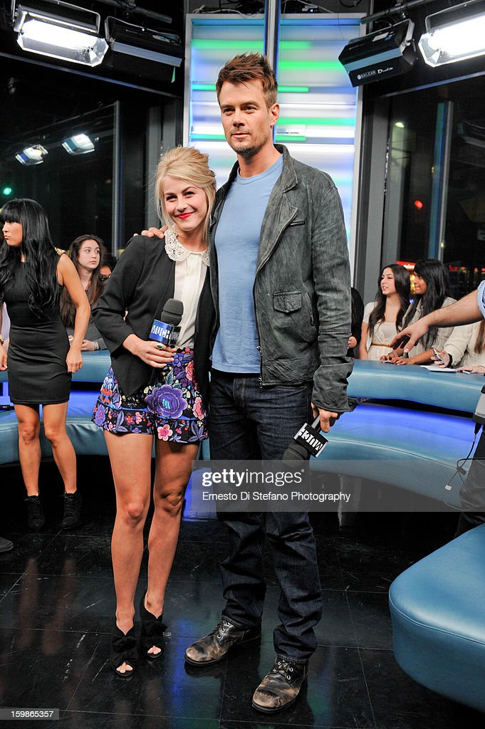 <a gi-track='captionPersonalityLinkClicked' href=/galleries/search?phrase=Julianne+Hough&family=editorial&specificpeople=4237560 ng-click='$event.stopPropagation()'>Julianne Hough</a> and <a gi-track='captionPersonalityLinkClicked' href=/galleries/search?phrase=Josh+Duhamel&family=editorial&specificpeople=208740 ng-click='$event.stopPropagation()'>Josh Duhamel</a> interview on New.Music.Live at MuchMusic Headquarters on January 21, 2013 in Toronto, Canada.