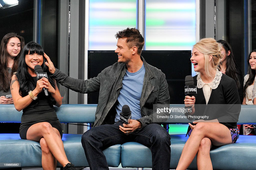 Julianne Hough and Josh Duhamel with Host Lauren Toyota of New.Music.Live at MuchMusic Headquarters on January 21, 2013 in Toronto, Canada.
