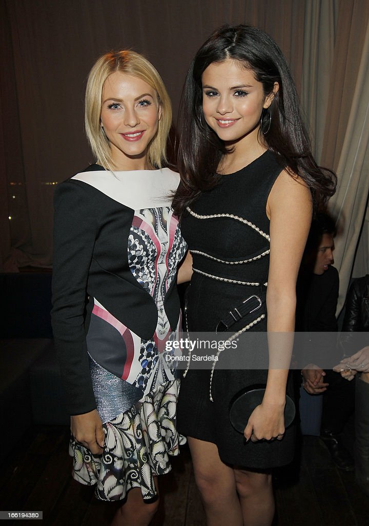 <a gi-track='captionPersonalityLinkClicked' href=/galleries/search?phrase=Julianne+Hough&family=editorial&specificpeople=4237560 ng-click='$event.stopPropagation()'>Julianne Hough</a> and <a gi-track='captionPersonalityLinkClicked' href=/galleries/search?phrase=Selena+Gomez&family=editorial&specificpeople=4295969 ng-click='$event.stopPropagation()'>Selena Gomez</a> attend the British Fashion Council LONDON Show ROOMS LA AW13 Opening Party at Thompson Hotel on April 9, 2013 in Beverly Hills, California.