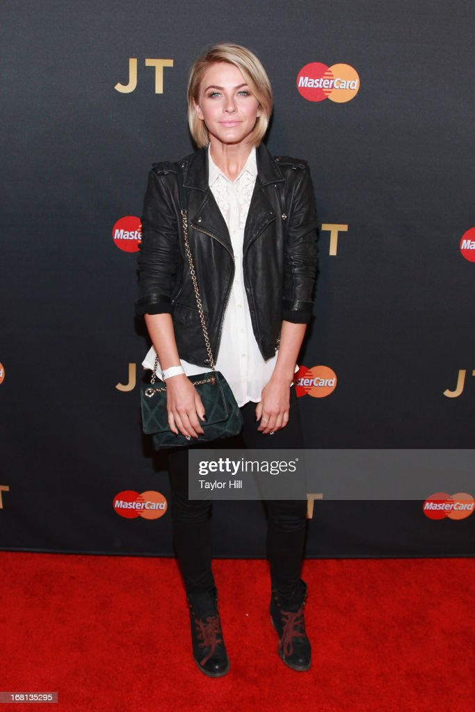 <a gi-track='captionPersonalityLinkClicked' href=/galleries/search?phrase=Julianne+Hough&family=editorial&specificpeople=4237560 ng-click='$event.stopPropagation()'>Julianne Hough</a> arrives at MasterCard Priceless Premieres presents Justin Timberlake at Roseland Ballroom on May 5, 2013 in New York City.