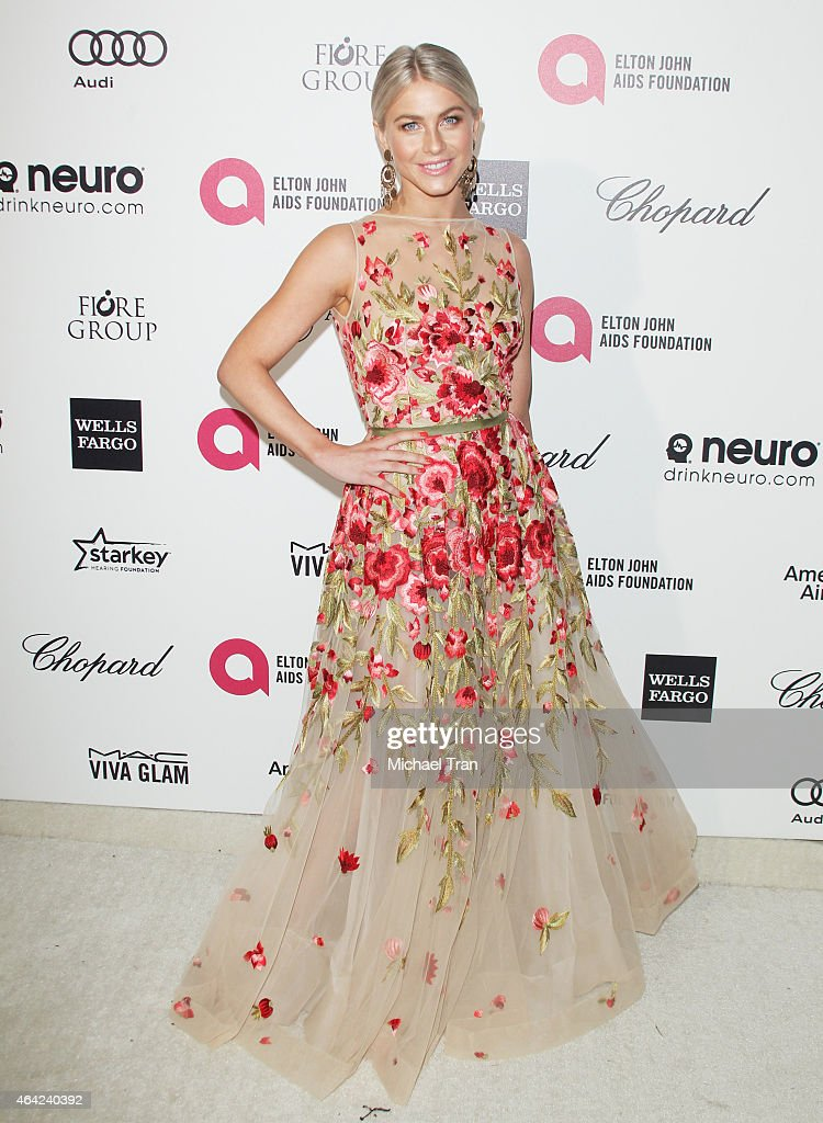 Julianne Hough arrives at the 23rd Annual Elton John AIDS Foundation Academy Awards viewing party held at The City of West Hollywood Park on February...