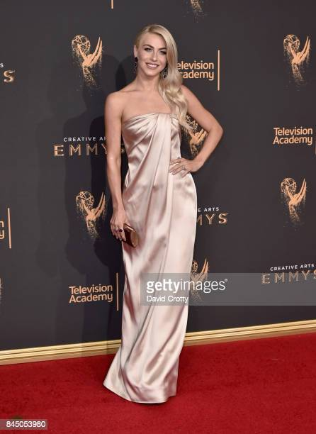 Julianne Hough left and Brooks Laich arrive at night one of at the 2017 Creative Arts Emmy Awards Day 1 at Microsoft Theater on September 9 2017 in...