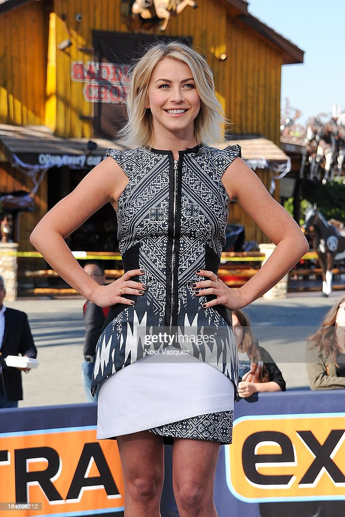 <a gi-track='captionPersonalityLinkClicked' href=/galleries/search?phrase=Julianne+Hough&family=editorial&specificpeople=4237560 ng-click='$event.stopPropagation()'>Julianne Hough</a> visits 'Extra' at Universal Studios Hollywood on October 15, 2013 in Universal City, California.