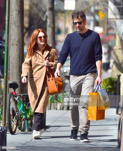 Julianne Moore and Bart Freundlich are seen in the West Village on April 13 2017 in New York City