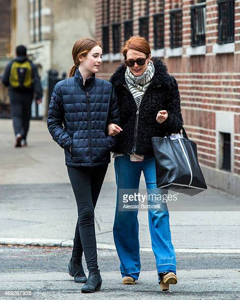 Julianne Moore and daughter Liv are seen strolling through West Village on April 10 2015 in New York City