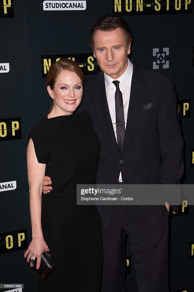 Julianne Moore and Liam Neeson attend the 'Non Stop' Paris Premiere at Cinema Gaumont Opera, in Paris.