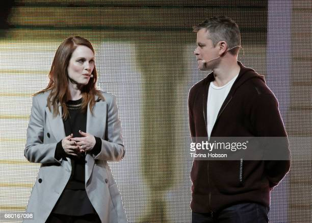 Julianne Moore and Matt Damon speak at Paramount Pictures' presentation highlighting its 2017 summer and beyond during CinemaCon at The Colosseum at...