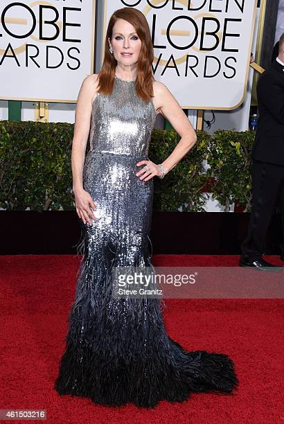 Julianne Moore arrives at the 72nd Annual Golden Globe Awards at The Beverly Hilton Hotel on January 11 2015 in Beverly Hills California
