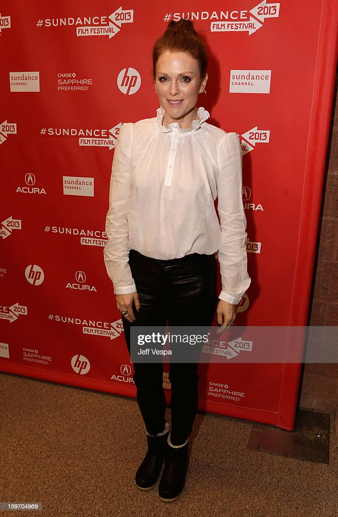 <a gi-track='captionPersonalityLinkClicked' href=/galleries/search?phrase=Julianne+Moore&family=editorial&specificpeople=171555 ng-click='$event.stopPropagation()'>Julianne Moore</a> attends 'Don Jon's Addiction' Premiere during the 2013 Sundance Film Festival at Eccles Center Theatre on January 18, 2013 in Park City, Utah.