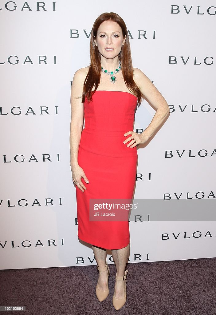 <a gi-track='captionPersonalityLinkClicked' href=/galleries/search?phrase=Julianne+Moore&family=editorial&specificpeople=171555 ng-click='$event.stopPropagation()'>Julianne Moore</a> attends the BVLGARI celebration of Elizabeth Taylor's collection of BVLGARI jewelry at Bvlgari Beverly Hills on February 19, 2013 in Beverly Hills, California.