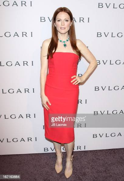 Julianne Moore attends the BVLGARI celebration of Elizabeth Taylor's collection of BVLGARI jewelry at Bvlgari Beverly Hills on February 19 2013 in...