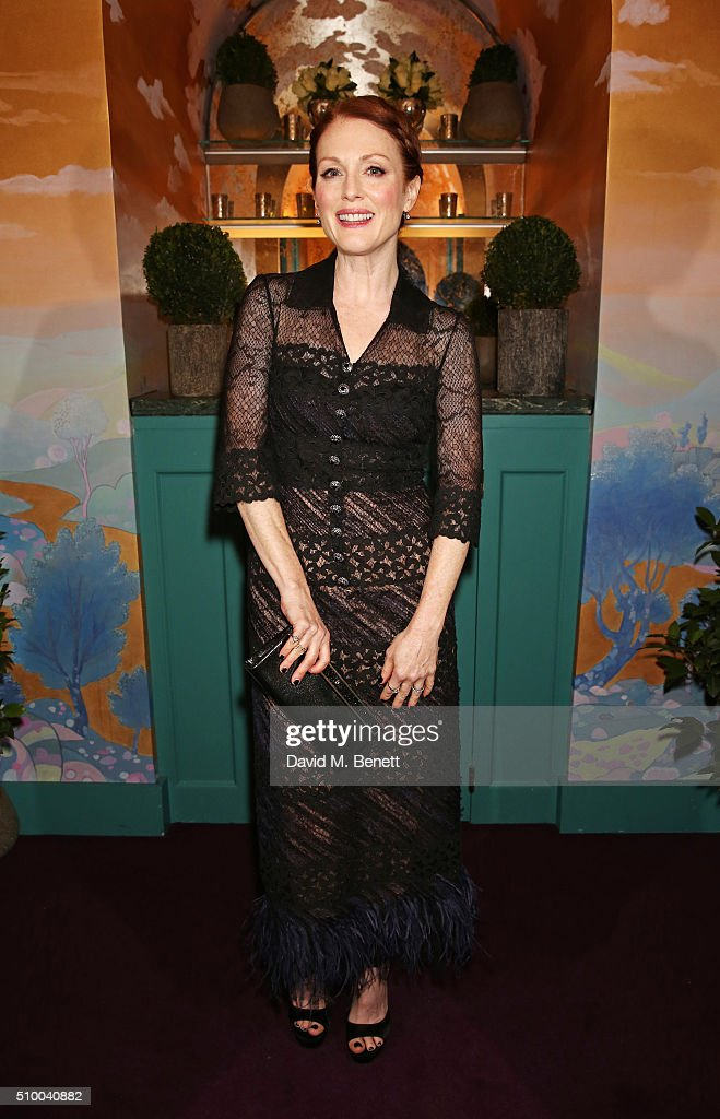 Julianne Moore attends the Charles Finch and Chanel Pre-BAFTA cocktail party and dinner at Annabel's on February 13, 2016 in London, England.