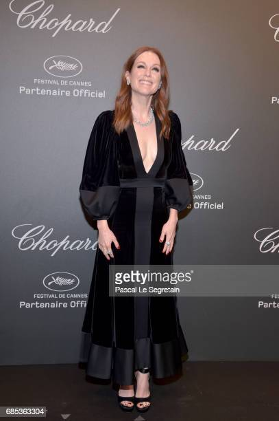 "Julianne Moore attends the Chopard ""SPACE Party"" hosted by Chopard's copresident Caroline Scheufele and Rihanna at Port Canto on May 19 in Cannes..."