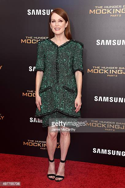 Julianne Moore attends 'The Hunger Games Mockingjay Part 2' New York Premiere at AMC Loews Lincoln Square 13 theater on November 18 2015 in New York...