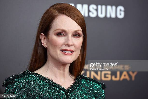 Julianne Moore attends 'The Hunger Games Mockingjay Part 2' premiere at AMC Loews Lincoln Square 13 theater on November 18 2015 in New York City