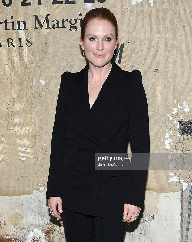 <a gi-track='captionPersonalityLinkClicked' href=/galleries/search?phrase=Julianne+Moore&family=editorial&specificpeople=171555 ng-click='$event.stopPropagation()'>Julianne Moore</a> attends the Maison Martin Margiela with H&M global launch event at 5 Beekman on October 23, 2012 in New York City.
