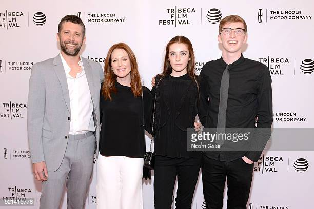 Julianne Moore Bart Freundlich and children Liv Freundlich and Caleb Freundlich attend 'Wolves' Premiere 2016 Tribeca Film Festival at SVA Theatre 1...