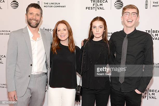Julianne Moore Bart Freundlich and children Liv Freundlich and Caleb Freundlich attend 'Wolves' Premiere 2016 Tribeca Film Festival at SVA Theatre 1...