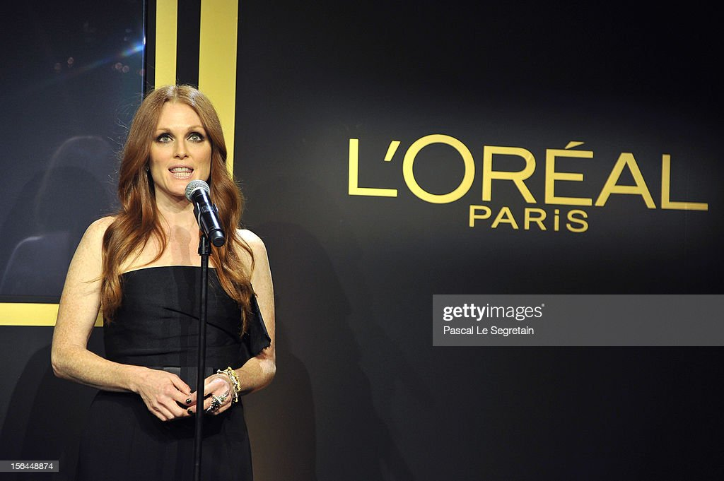 <a gi-track='captionPersonalityLinkClicked' href=/galleries/search?phrase=Julianne+Moore&family=editorial&specificpeople=171555 ng-click='$event.stopPropagation()'>Julianne Moore</a> gives a speech during the l'Oreal new egerie presentation at Hotel D'Evreux on November 15, 2012 in Paris, France.