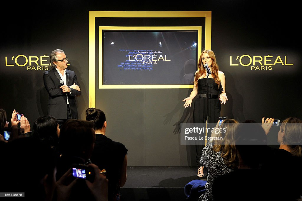 <a gi-track='captionPersonalityLinkClicked' href=/galleries/search?phrase=Julianne+Moore&family=editorial&specificpeople=171555 ng-click='$event.stopPropagation()'>Julianne Moore</a> gives a speech next to Cyril Chapuy during the l'Oreal new egerie presentation at Hotel D'Evreux on November 15, 2012 in Paris, France.