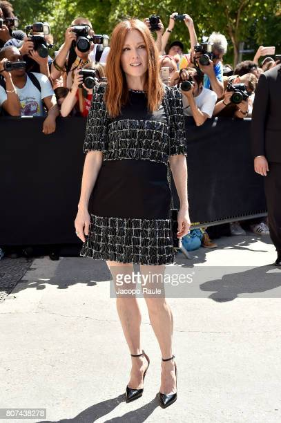 Julianne Moore is seen arriving at the 'Chanel' show during Paris Fashion Week Haute Couture Fall/Winter 20172018 on July 4 2017 in Paris France