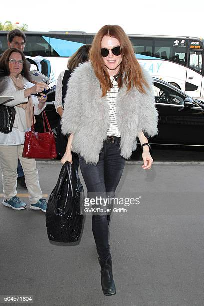 Julianne Moore is seen at LAX on January 11 2016 in Los Angeles California