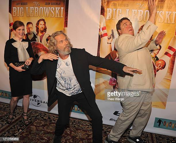 Julianne Moore Jeff Bridges and John Goodman attend 'The Big Lebowski' Bluray release at the Hammerstein Ballroom on August 16 2011 in New York City