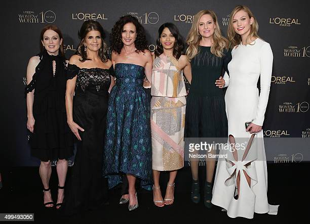 Julianne Moore Karen T Fondu Andie MacDowell Freida Pinto Aimee Mullins and Karlie Kloss attend the L'Oreal Paris Women of Worth 2015 Celebration...