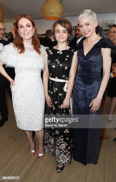 Julianne Moore Millicent Simmonds and Michelle Williams attend the Amazon Studios official after party for 'Wonderstruck' at the iconic Nikki Beach...