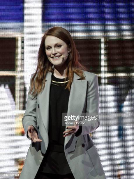 Julianne Moore speaks at Paramount Pictures' presentation highlighting its 2017 summer and beyond during CinemaCon at The Colosseum at Caesars Palace...