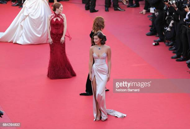Julianne Moore Susan Sarandon and Bella Hadid attend the 'Ismael's Ghosts ' screening and Opening Gala during the 70th annual Cannes Film Festival at...