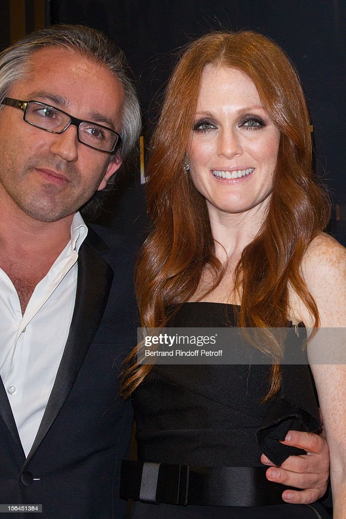 <a gi-track='captionPersonalityLinkClicked' href=/galleries/search?phrase=Julianne+Moore&family=editorial&specificpeople=171555 ng-click='$event.stopPropagation()'>Julianne Moore</a>, the new face of L'Oreal Paris, and Cyril Chapuy, International Managing Director of L'Oreal Paris, attend the L'Oreal New Egerie Presentation and Press Conference event at Hotel D'Evreux on November 15, 2012 in Paris, France.
