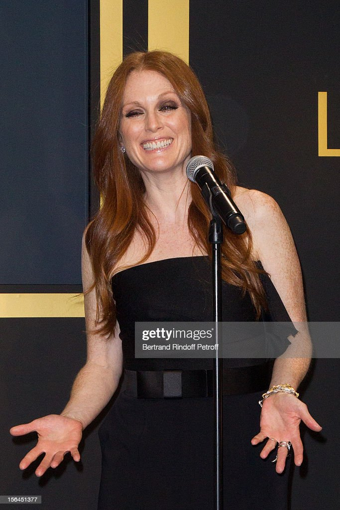 <a gi-track='captionPersonalityLinkClicked' href=/galleries/search?phrase=Julianne+Moore&family=editorial&specificpeople=171555 ng-click='$event.stopPropagation()'>Julianne Moore</a>, the new face of L'Oreal Paris, delivers a speech as she attends the L'Oreal New Egerie Presentation and Press Conference event at Hotel D'Evreux on November 15, 2012 in Paris, France.