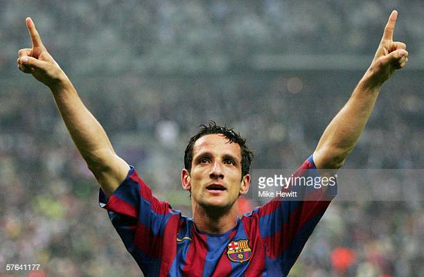Juliano Belletti of Barcelona celebrates his team winning during the UEFA Champions League Final between Arsenal and Barcelona at the Stade de France...