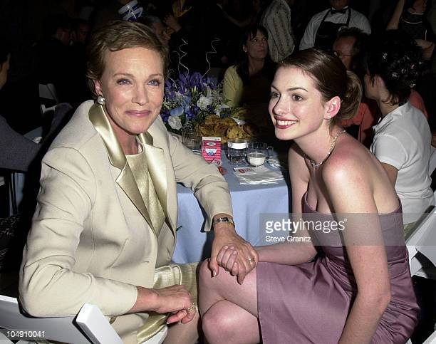 Julie Andrews Anne Hathaway during The Princess Diaries Premiere After Party at El Capitan Theatre in Hollywood California United States